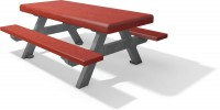 Kinder picknicktafel F bicolor grijs rood 2020