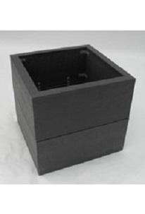 Kunststof bloembak circa 48 x 48 x 45 cm, bodem met drainage systeem , voetjes , gemonteerd, € 119,- Verhoogd 68 cm € 159,-